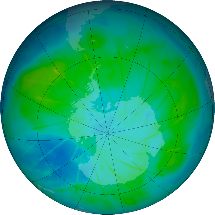 Antarctic ozone map for 24 January 2010